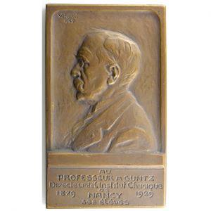 Victor PROUVE   Au Professeur A Guntz, directeur de l'institut chimique de Nancy  1879-1929   bronze   84x50mm    TTB+/SUP