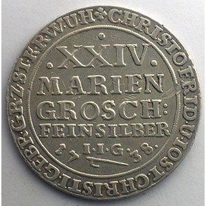XXIV Mariengroschen   1738 IIG    TB+/TTB